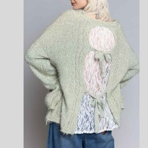 Lace insert Cable design Sweater~New Arrival